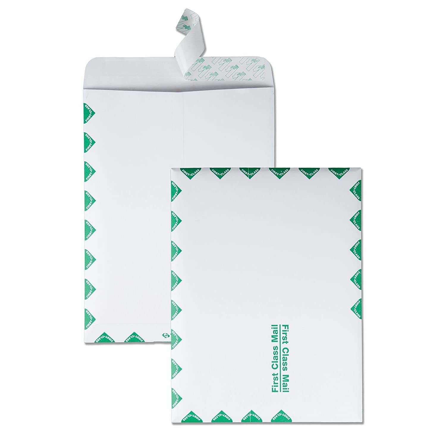 Quality Park Redi-Strip Catalog Envelope, 9 X 12-Inch, First Class Border, Box of 100, White (44534)