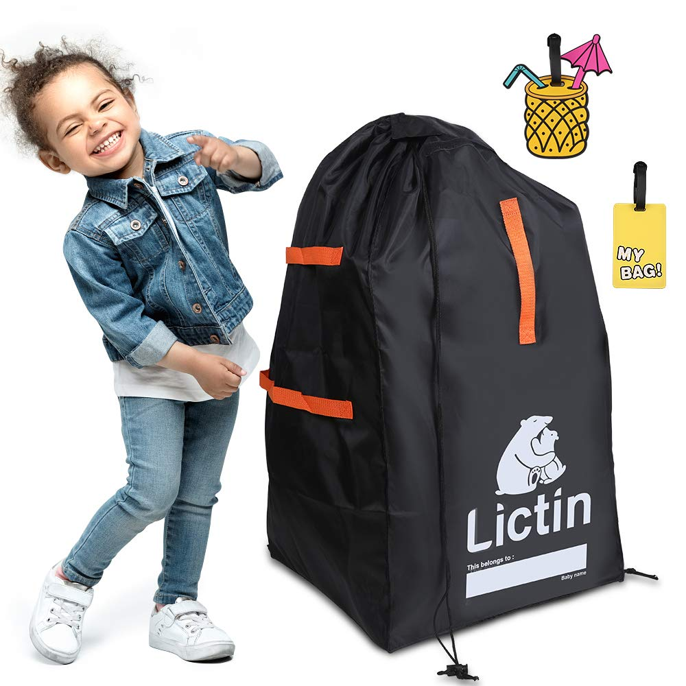 Lictin Car Seat Travel Bag Black Safety /& Durable Gate Check Bag for Air Travel,Baby Seat Protection Bag with 2 Cute Luggage Tags,Folding Storage Luggage Bag for Baby Car Seat