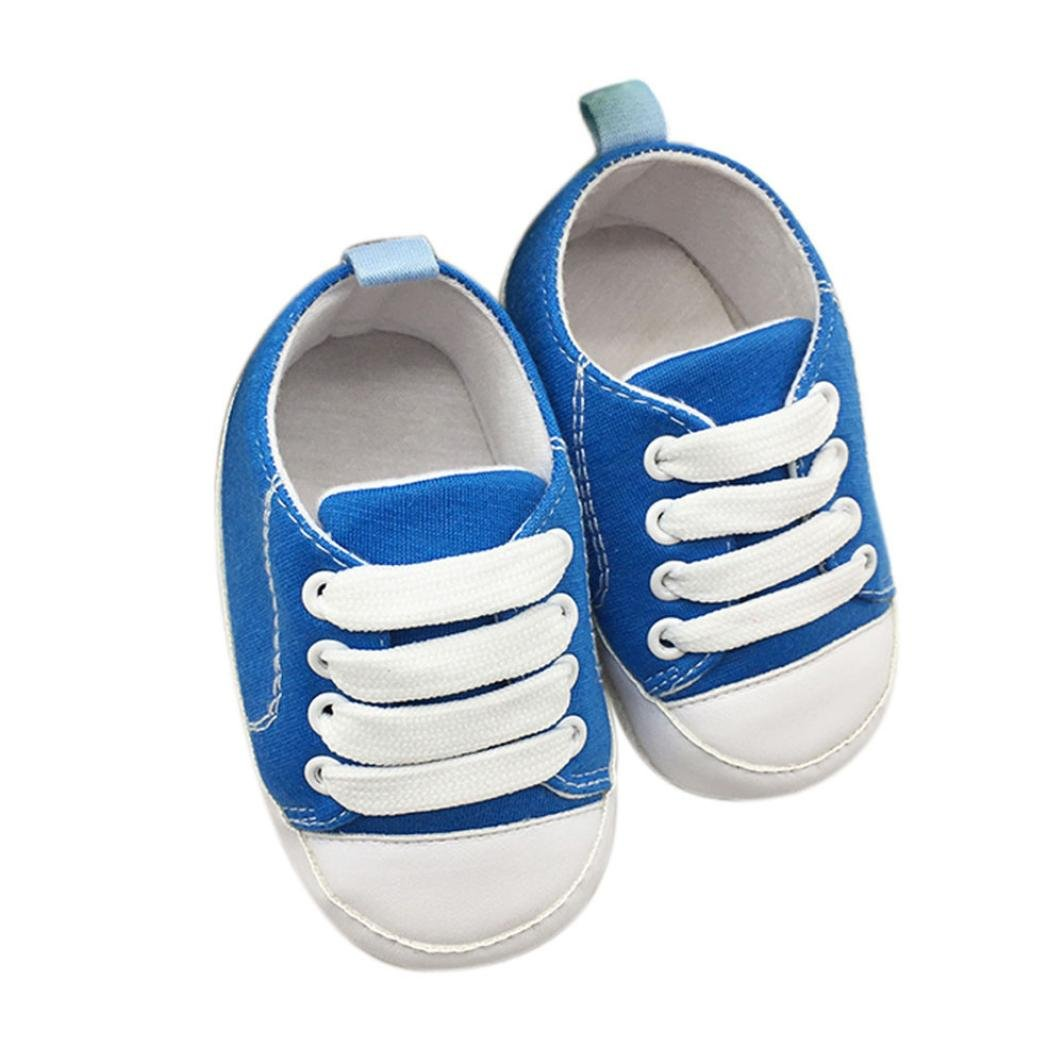 Lanhui Baby Toddler Shoes Anti-Slip Soft Solid Canvas Lace-Up Sneaker Girls (Sky Blue, 0-6Months)