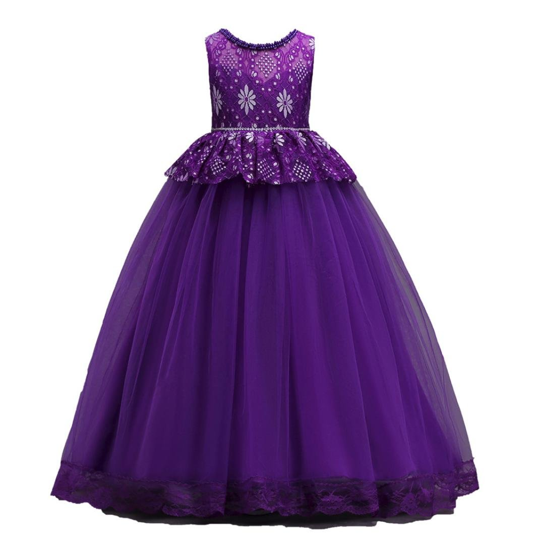 Suma-ma Kids Baby Girl Formal Dress, Lace Solid Color Mesh Pearl Birthday Wedding Evening Dress 4-14T (12 Years Old, Purple)