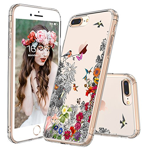 (iPhone 7 Plus Case, iPhone 8 Plus Case, MOSNOVO Humming Birds Design with Floral Clear Design Back Case TPU Bumper [Drop Protection] Case Cover for iPhone 7 Plus/iPhone 8 Plus - Clear)