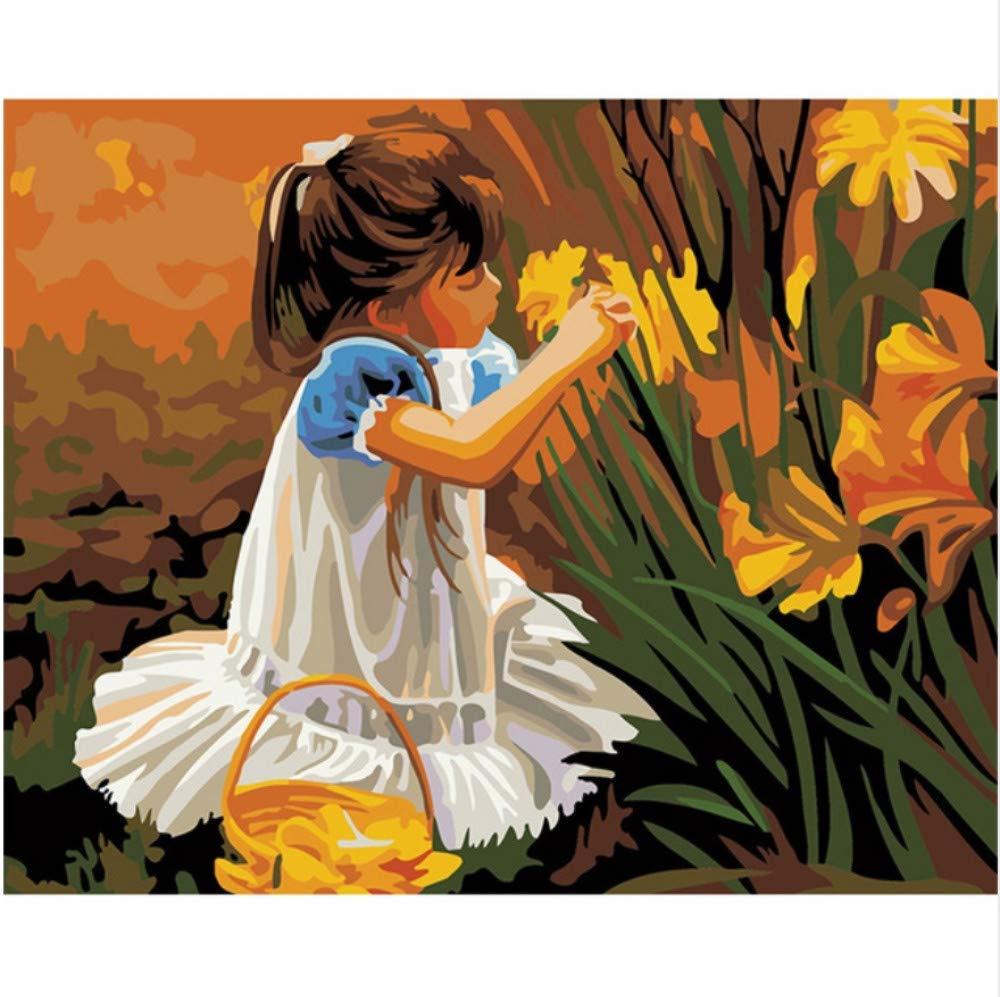 CZYYOU DIY Digital Malen Nach Zahlen Blaumenmädchen Ölgemälde Wandbild Kits Kits Kits Färbung Wandkunst Bild Geschenk - Mit Rahmen - 40x50cm B07Q7VLRXF   Günstige  1640a4