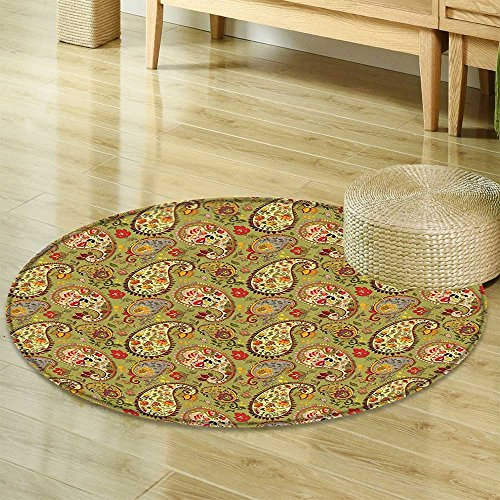 Paprika Paisley (Paisley Decor Circle carpet by Nalahomeqq Eastern and Persian Oriental Style Tulip Floral Textile Pattern Fabric Room non-slip Green Red Cream and Paprika-Diameter 130cm(51