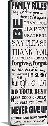 Family Rules Canvas Wall Art Print