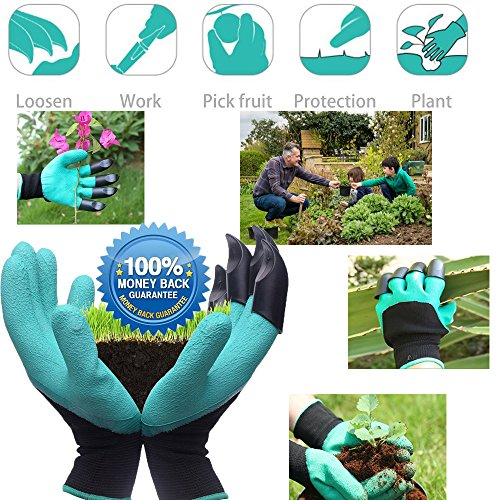 Garden Genie Gloves, Right Hand Claws Quick Easy to Nursery Digging Planting and Safe for Rose Pruning - As Seen On TV