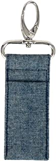 product image for Lip Balm Keeper by Stephanie Dawn, Made in USA, Lip Product USB Holder, Cotton Fabric, Metal Swivel Clasp, Keychain, Small Accessory, Washable (Chambray)