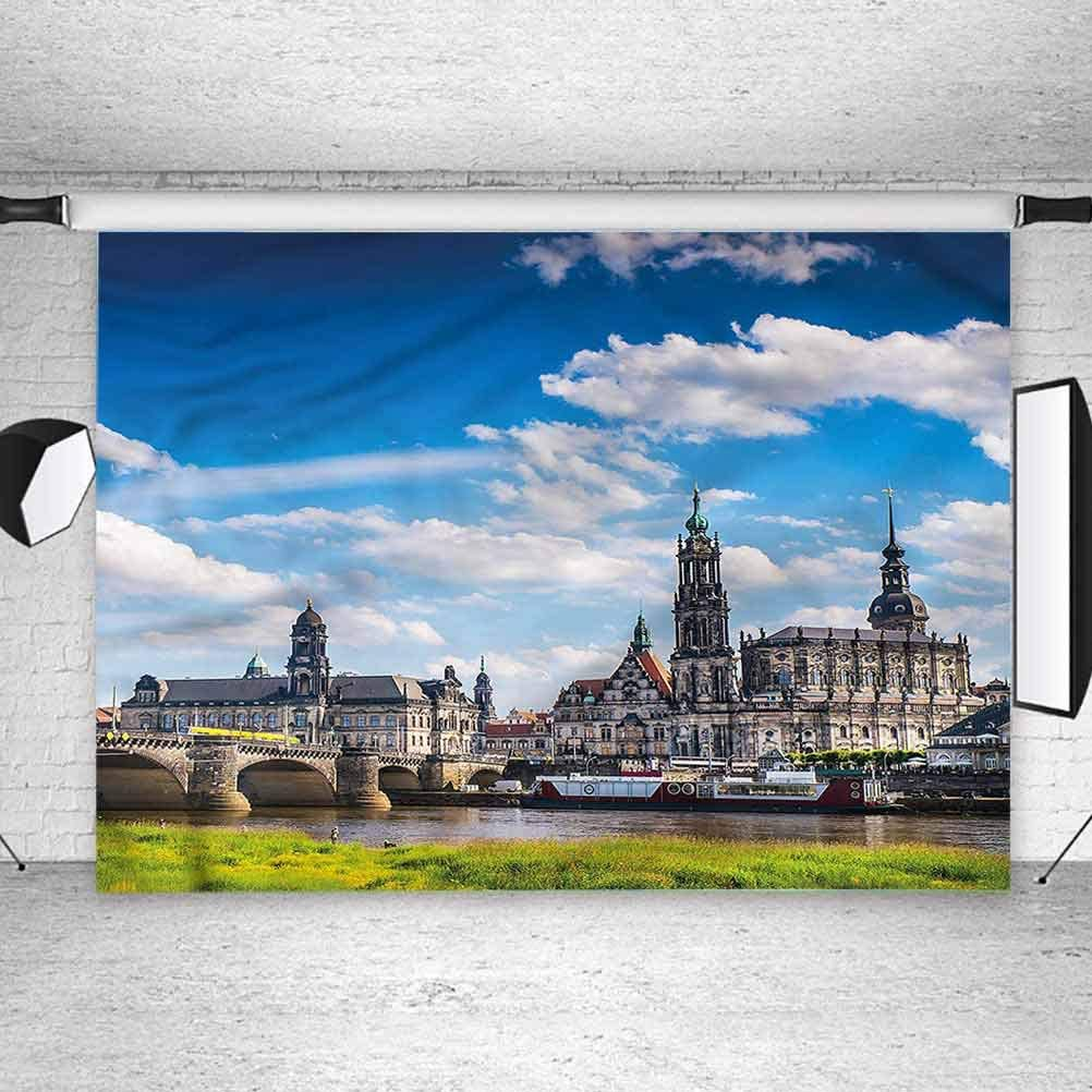 5x5FT Vinyl Photo Backdrops,Cityscape,European Ancient Town Background Newborn Birthday Party Banner Photo Shoot Booth