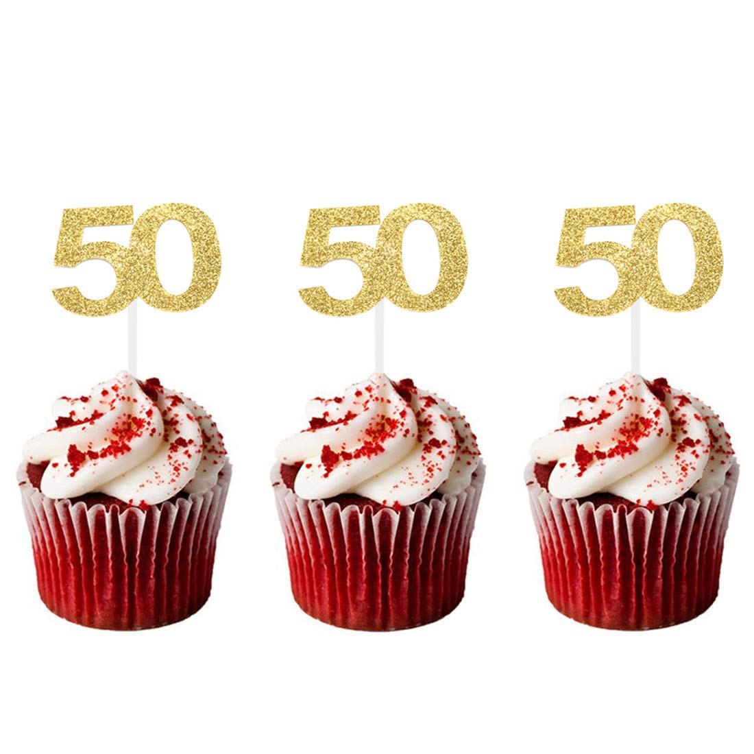 HZOnline Cupcake Toppers 50thGolden Glitter Number 50 Birthday