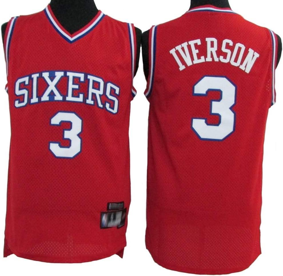 180cm//75~85kg XH-Sport Maillot de Basket-Ball des Hommes 76ers Allen Iverson 3# Uniforme Vintage et Respirant tr/ès Cool en Tissu Respirant et Unisexe,L