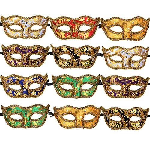 ECOSCO 12pcs Masquerade Masks Women Men Mardi Gras Venetian Ball Party Masks Bulk Wholesales -