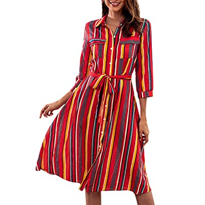 Women's Stripe Midi Dress - Ladies Long Sleeve Tunic Shirt Dresses with Belt - Colorful Work Loose Dress : Sports & Outdoors