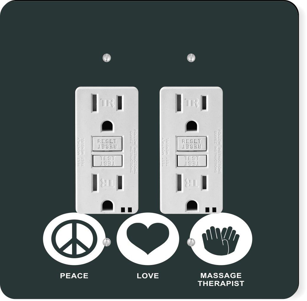 Rikki Knight 42218 Gfidouble Peace Love Massage Therapist Green Color Design Light Switch Plate