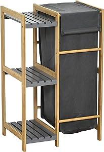 EVIDECO Tilt-Out Laundry Linen Hamper 55 Liters Combo Cabinet Noumea Bamboo Gray