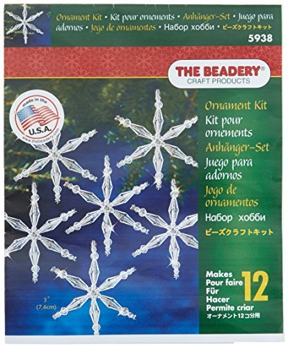Beadery Plastic Holiday Beaded Ornament Kit Ice Crystal Snowflakes 3-inch Makes 12 by Beadery
