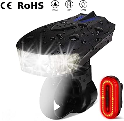 Cree XPG Bicycle USB Charging Headlight Night Cycling Safety Warning Taillight