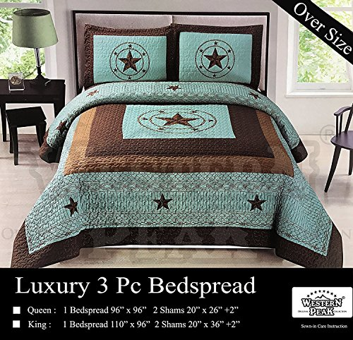 Western Peak 3 Piece Western Texas Lone Star Cabin Lodge Barb Wire Luxury Quilt Bedspread Coverlet Comforter Turquoise Brown Set (Oversize King Star)