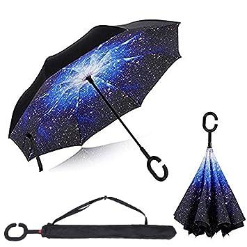 Paraguas Invertido, Paraguas Plegable, reversible, con protección contra rayos UV, con mango
