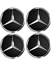 IGGY 4 x Tapones Tapacubos Negro Logo Mercedes DE 75 mm – Clase A B C E CLK GL