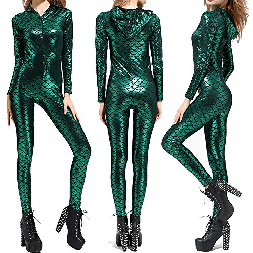 BOMBAX Women Mermaid Halloween Costume Bodysuit Anime Cosplay Hood -
