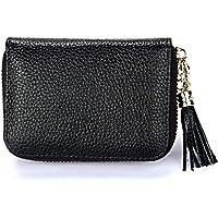 Dlife Genuine Cowhide Leather Wallet Zipper Accordion Pendant Tassel RFID Blocking 15 Card Slots Small Credit Card Wallet for Women