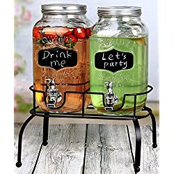 Estilo EST3095 Glass Mason Jar Double Drink Dispenser with Leak Free Spigot on Metal Stand with Embo Embossed Chalkboard and Chalk, 1 Gallon, Clear