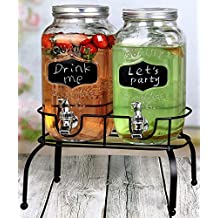 Estilo 1 Gallon Glass Mason Jar Double Drink Dispenser with Leak Free Spigot On Metal Stand With Embossed Chalkboard and Chalk, Clear