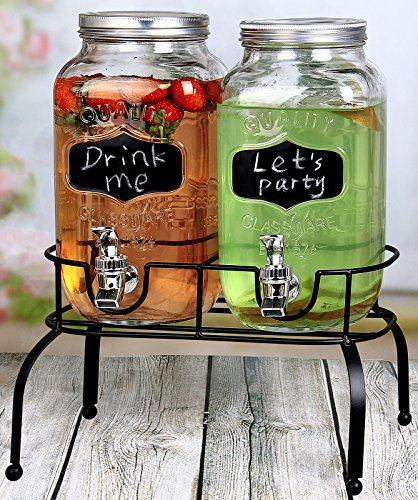 Estilo 1 Gallon Glass Mason Jar Double Drink Dispenser with Leak Free Spigot On Metal Stand With Embossed Chalkboard and Chalk, Clear (Glass Beverage 1 Dispenser Gallon)