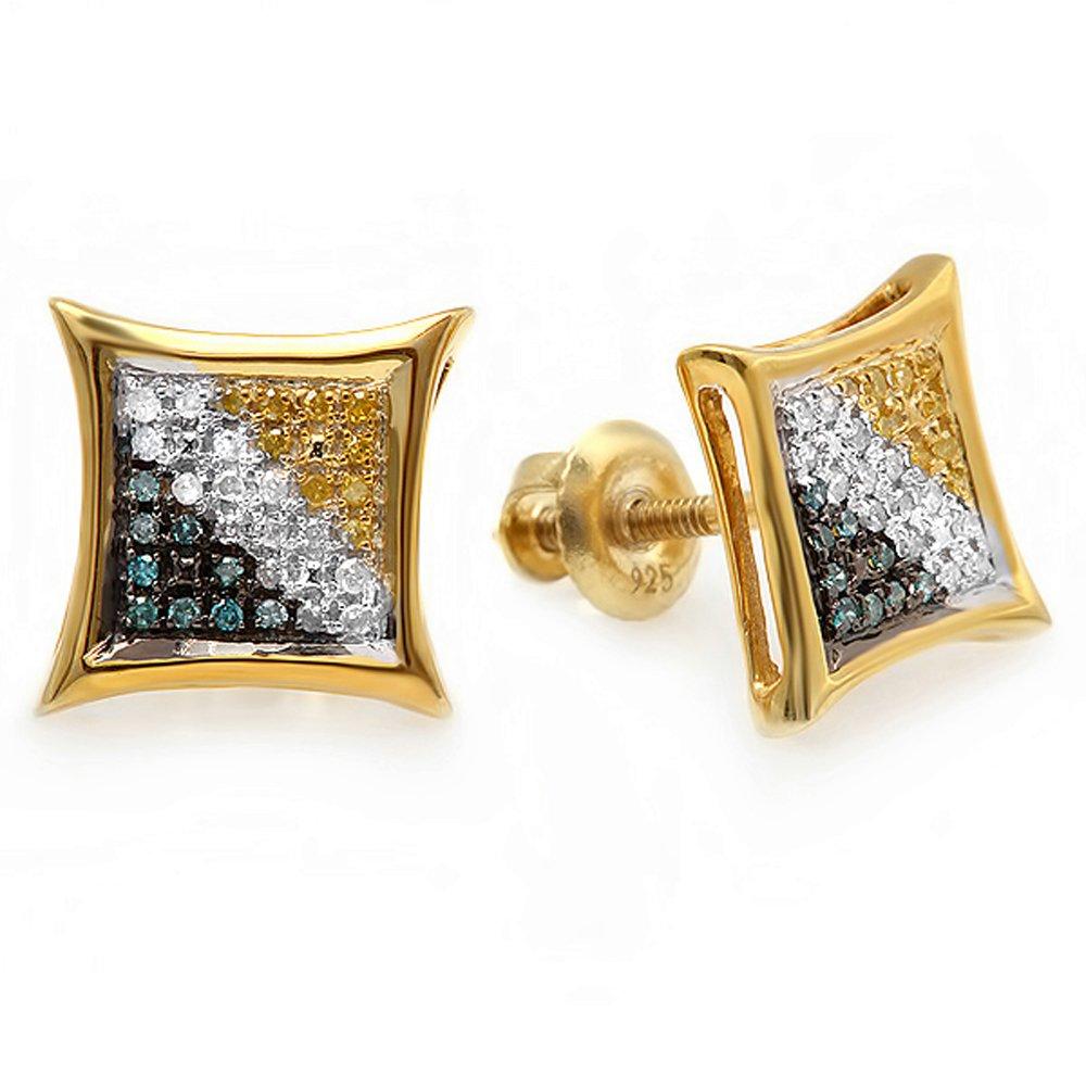 0.15 Carat (ctw) 10K Yellow Gold Blue, White & Yellow Round Diamond Micro Pave Setting Kite Shape Stud Earrings