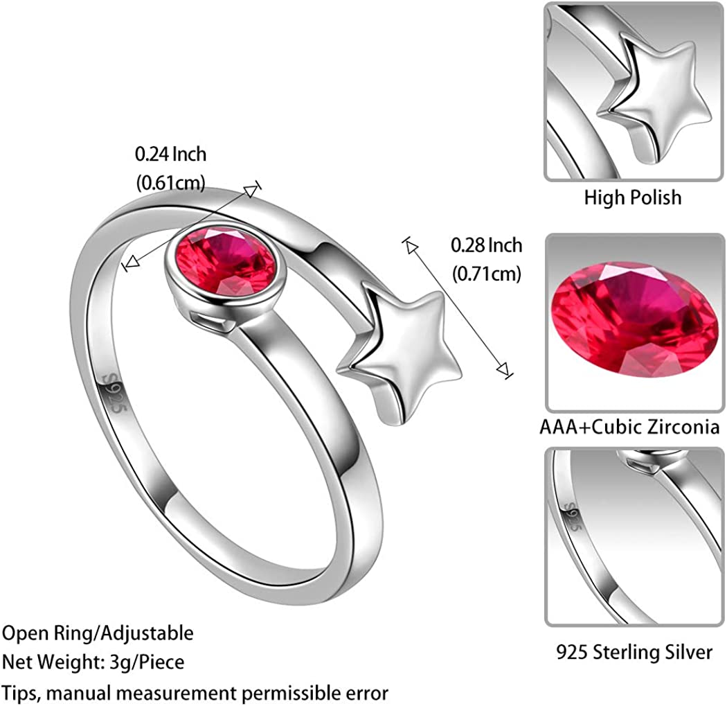Chain Model Rose Minimal Ring with Zircon Stone 925 Sterling Silver for Women Stacking Fashion Girls Adjustable Rings Jewelry Handmade Gift
