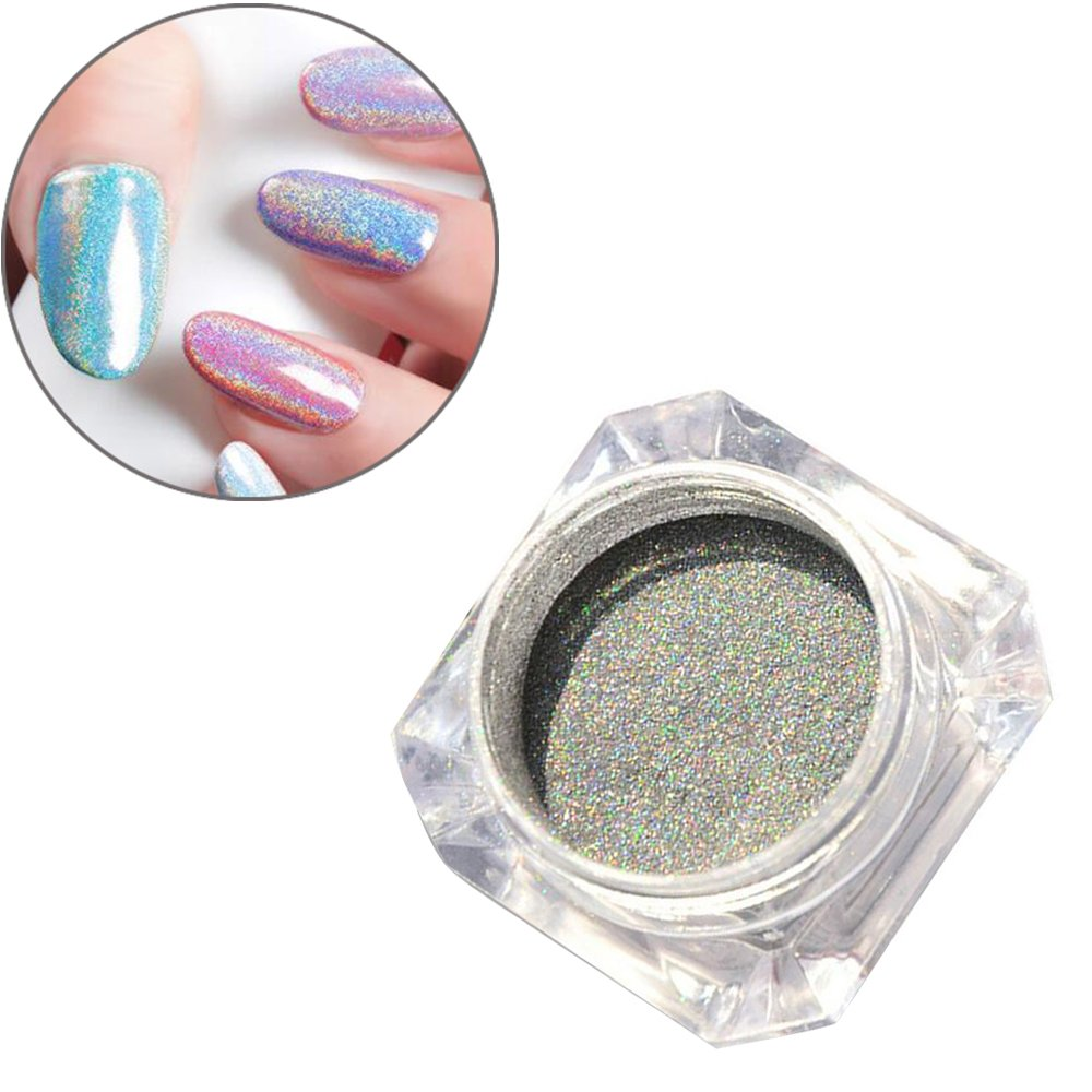 Good Hisight 1g Box Holographic Laser Powder Rainbow Chrome Nail A Dha Cream Hologram Ultra Bright Mermaid Glitter