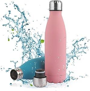 Botella de Agua Acero Inoxidable-350/500/750ml,Aislada al Vacío de Conserva Frío Doble Pared,sin BPA Botella Agua Deporte,Resistencia al Rayado, fácil de Limpiar,Reutilizable para Colegio, Sport,Yoga