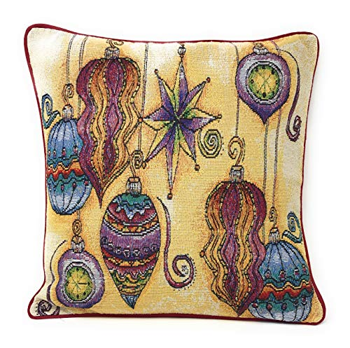 """DaDa Bedding Throw Pillow Cover - Boho Christmas Ornaments Tapestry - Festive Holiday Woven Cushion Case - 16"""" x 16"""""""