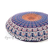 Eyes of India - 32'' Blue Mandala Floor Cushion Seating Pillow Throw Cover Hippie Round Colorful Decorative Bohemian boho dog bed IndianCover Only