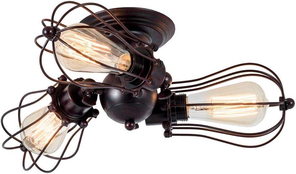 Lámpara de techo Vintage Enchufe Industrial Ajustable Lámpara de Jaula de Alambre Metálico de Montaje Semi Empotrado Rústica de Metal (sin bombilla)