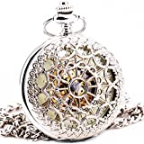 Delicate Silver Stainless-steel Unisex Baroque Womens Automatic Mechanical Pocket Watch Hollowed Lid Chain