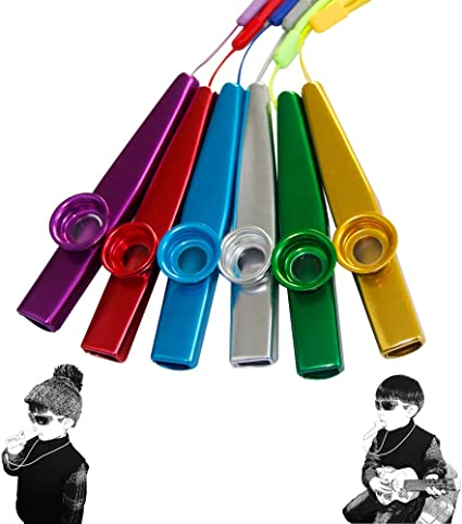 6 Colors 18 Pack Metal Kazoo Musical Instruments Flutes Companion for Guitar