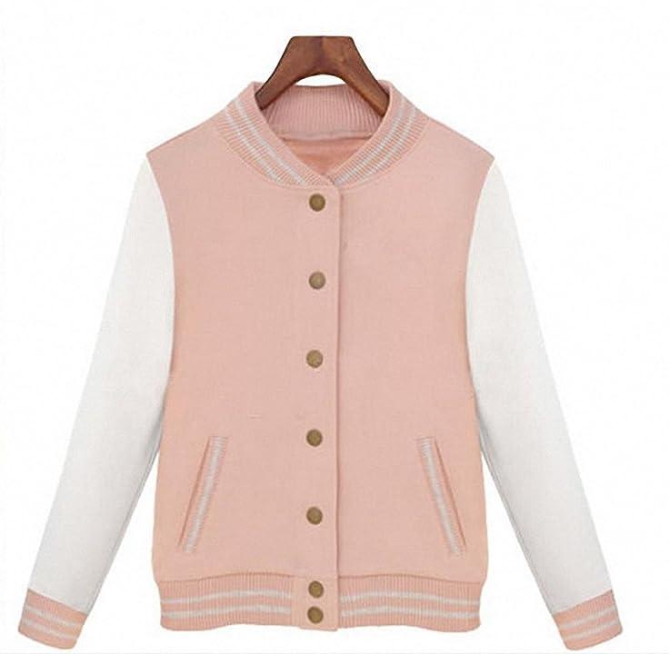 Splice Sleeves Baseball Jacket College Jackets Women Bomper Jacket New Autumn Coats at Amazon Womens Clothing store: