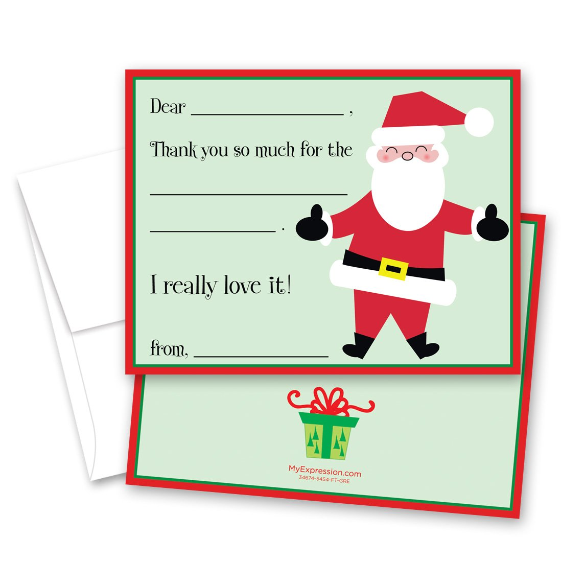 Christmas Thank You Cards.Amazon Com Myexpression Com 20 Santa Claus Kids Fill In