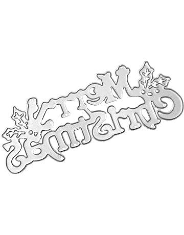 Shangwelluk Letras de Feliz Navidad DIY Juego de Troqueles Pad Replacements para Máquina Troqueladora y Estampadora