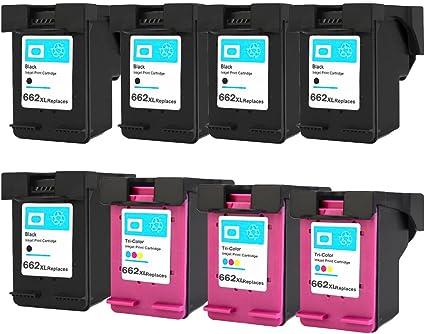 Eston 662 X L negro Cartucho 662 X L color cartuchos de tinta remanufacturados para HP Impresoras (Pack de 8): Amazon.es: Oficina y papelería