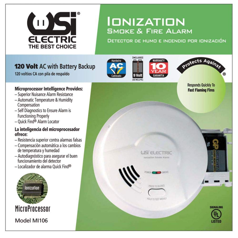 Amazon.com: USI - (2 Pack) MI106 Hardwired Ionization Smoke ...