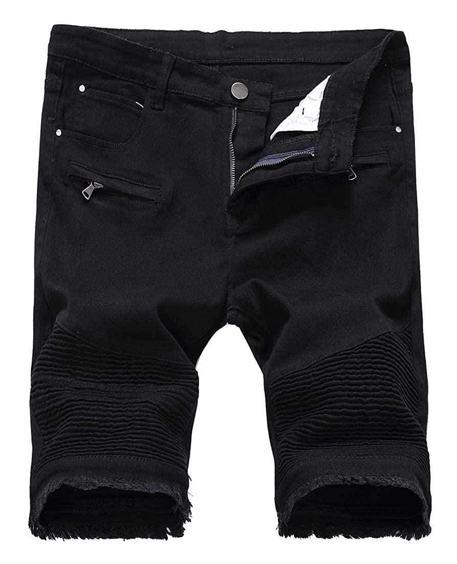 Sanderso Mens Pleated Jeans Skinny Ripped Distressed Denim Shorts Pants