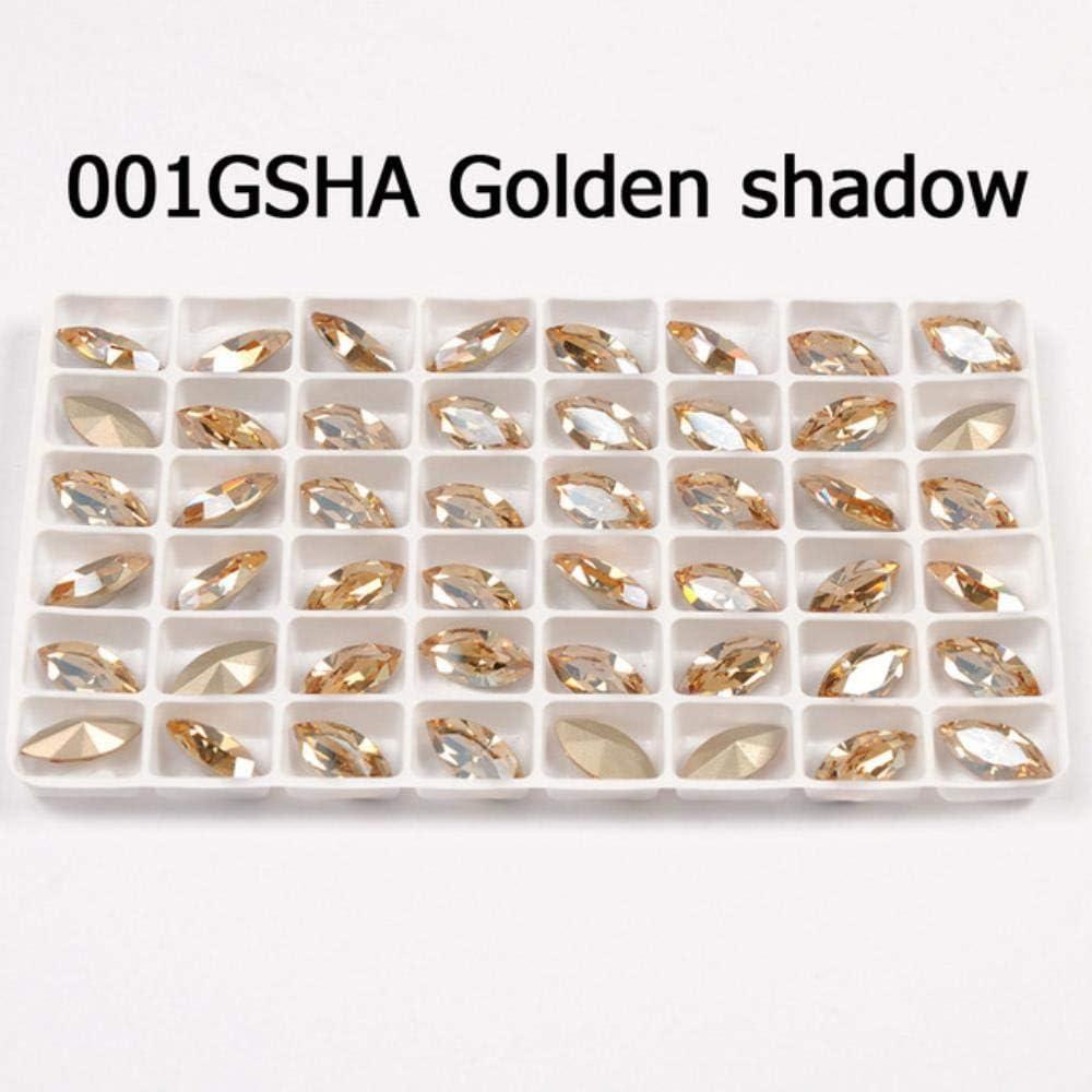 PENVEAT Glitter Crystal Coser en Diamantes de imitación con Garra DIY Colorido Vestido de Strass Fancy Stone Glass Rhinestones para joyería Ropa, Golden Shadow, 7x15mm 12pcs