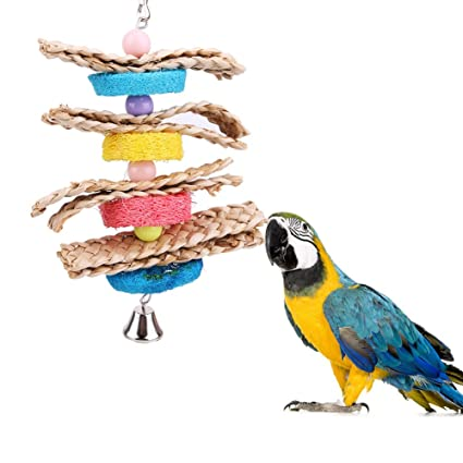 Honest Pet Bird Chewing Toy Parrots Cage Bite Toys Pet Birds Chewing Hanging Toy With Stainless Bells Birds Accessories Bird Supplies