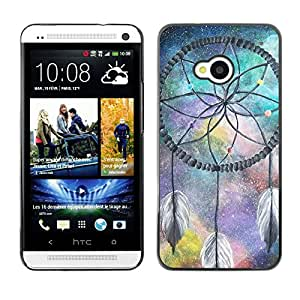 - Dream Catcher - - Monedero pared Design Premium cuero del tir¨®n magn¨¦tico delgado del caso de la cubierta pata de ca FOR HTC 801e HTC One M7 Funny House