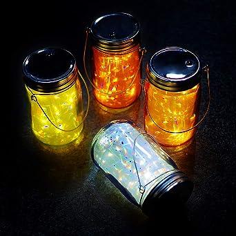 MJPREMIER - Juego de 4 luces LED para tarro de cristal, para ...