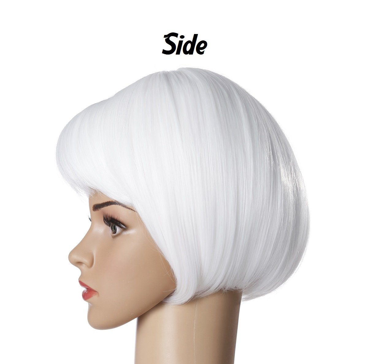 Short Straight Bob Hair Wigs 10'' Bright White Synthetic Party Costume Wig (White) by Liasun (Image #1)