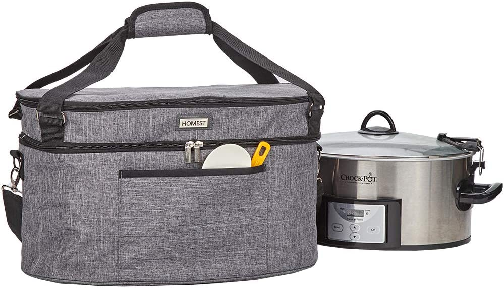 HOMEST Slow Cooker Travel Bag with Easy to Clean Lining, Insulated Carrier with Zippered Accessory Pocket, Carry Case Compatible with Crock Pot 6, 7, 8 Quart