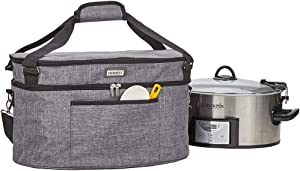 HOMEST Slow Cooker Bag for Crock-Pot 6-8 Quart, Insulated Travel Carrier with Easy to Clean Lining, Carry Case with Top Zip Compartment and Accessory Pocket (Patent Pending)
