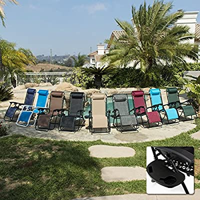 Belleze 2-Pack Zero Gravity Patio Lounge Chairs+Cup Holder Utility Tray by Belleze